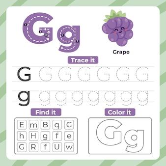 Folha de trabalho da letra g com uva