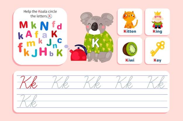 Folha de trabalho da letra k com coala