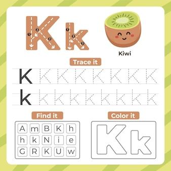 Folha de trabalho da letra k com kiwi Vetor grátis