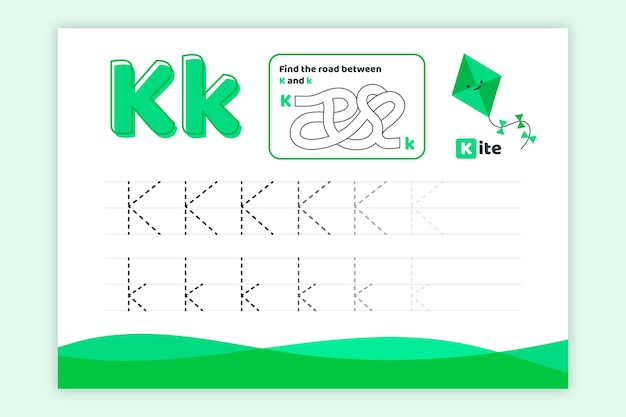 Folha de trabalho da letra k com pipa