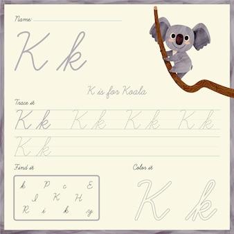 Folha de trabalho da letra k com urso coala