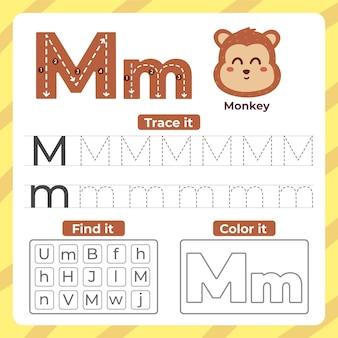 Folha de trabalho da letra m com macaco