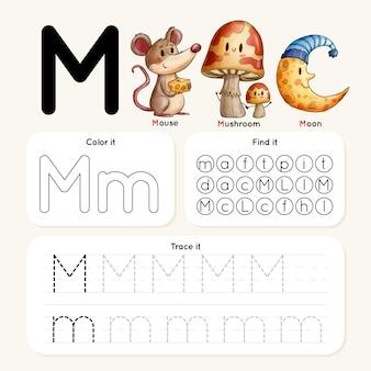 Folha de trabalho da letra m com mouse, cogumelo, lua