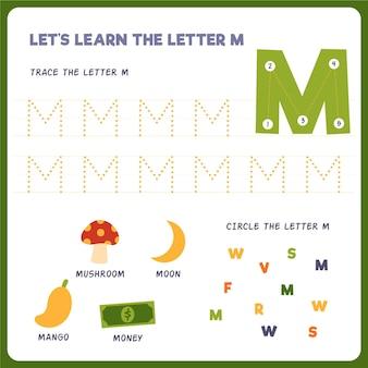 Folha de trabalho da letra m para crianças