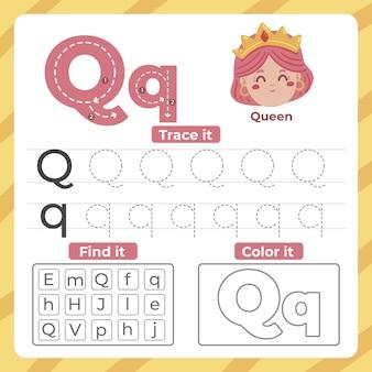 Folha de trabalho da letra q com rainha Vetor grátis