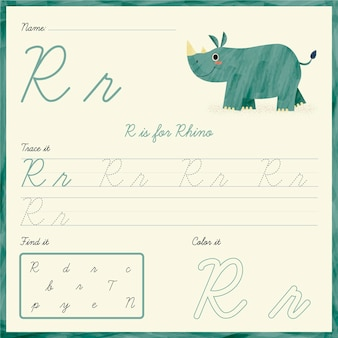 Folha de trabalho da letra r com rinoceronte