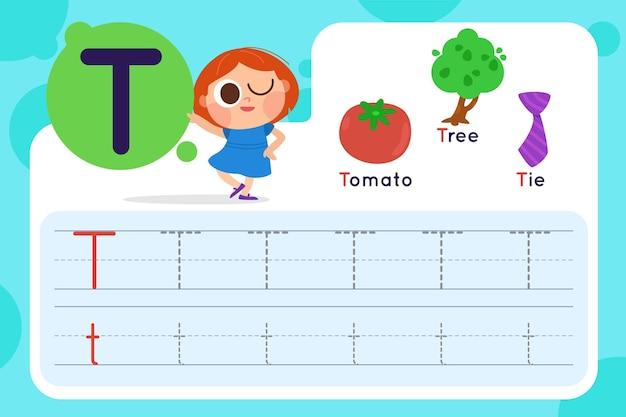 Folha de trabalho da letra t com tomate e árvore