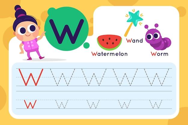 Folha de trabalho da letra w com melancia e varinha