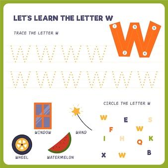 Folha de trabalho da letra w para crianças Vetor Premium