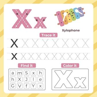 Folha de trabalho da letra x com xilofone Vetor Premium