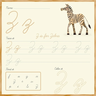 Folha de trabalho da letra z com ilustração de zebra