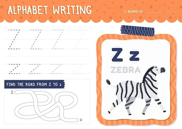 Folha de trabalho da letra z com zebra