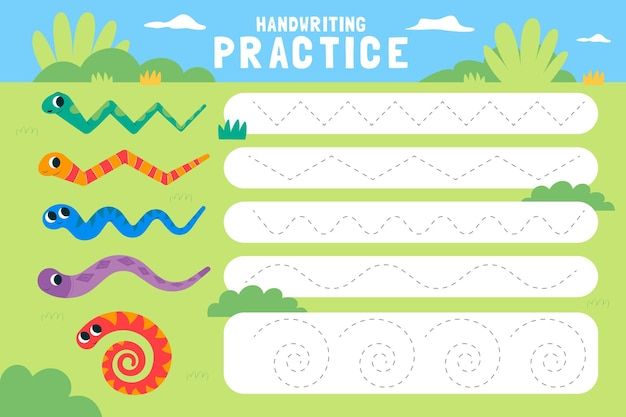 Folha de trabalho de prática de caligrafia para crianças Vetor grátis