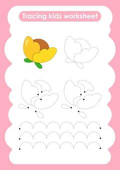 Folha de trabalho de prática de desenho e escrita de linhas de rastreamento de flores para crianças