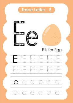 Folha de trabalho de prática de desenho e escrita de linhas de rastreamento de ovo para crianças