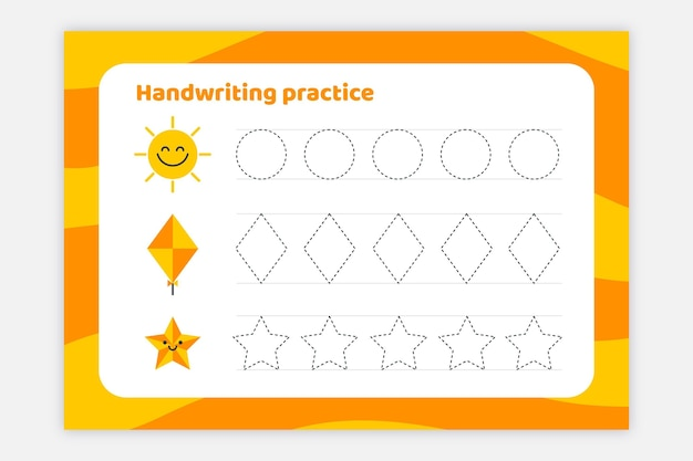 Folha de trabalho de prática de escrita à mão brilhante