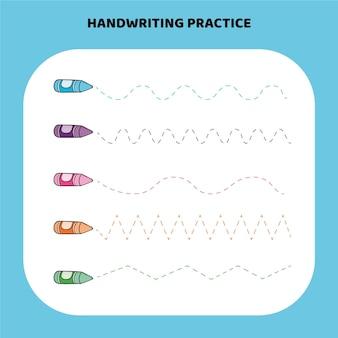 Folha de trabalho de prática de escrita à mão colorida