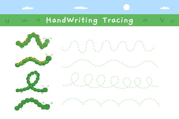 Folha de trabalho de prática de escrita à mão verde