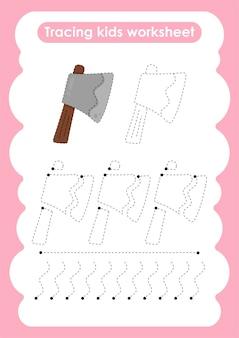 Folha de trabalho de prática de escrita e desenho de linhas de traço de machado para crianças