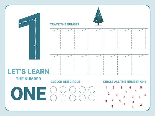 Folha de trabalho de prática de rastreamento número um com 1 árvore de natal para crianças aprendendo a contar e escrever. planilha para aprender os números. exercícios de coloração