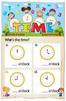 Folha de trabalho do capítulo do tempo da matemática
