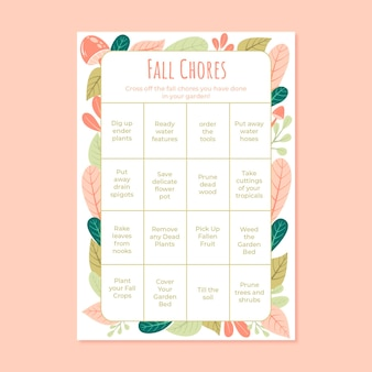 Folha de trabalho do cartão de bingo para tarefas de outono