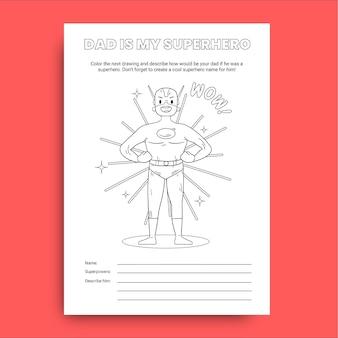 Folha de trabalho do dia do pai do super-herói infantil desenhada à mão