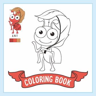 Folha de trabalho do livro de desenhos de formigas para colorir