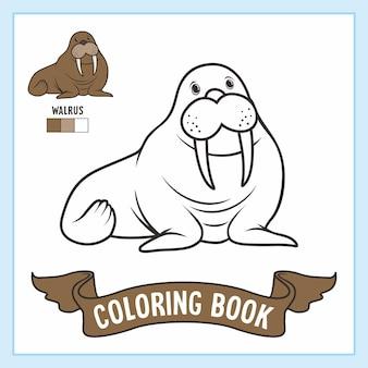Folha de trabalho do livro de páginas para colorir de animais da morsa