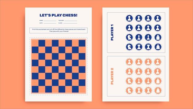 Folha de trabalho do tabuleiro de xadrez duotônico