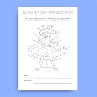 Folha de trabalho infantil do dia das mães desenhada à mão
