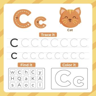 Folha de trabalho letra c com gato