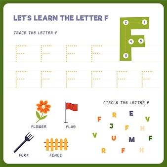 Folha de trabalho letra f para crianças