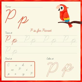 Folha de trabalho letra p com papagaio