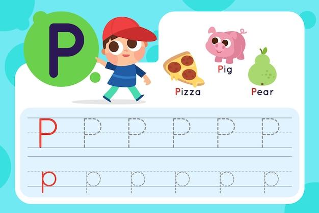 Folha de trabalho letra p com pizza e porco Vetor grátis