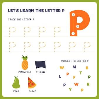 Folha de trabalho letra p para crianças