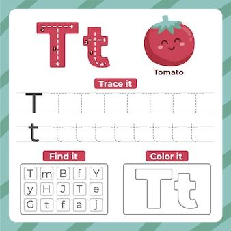 Folha de trabalho letra t com tomate