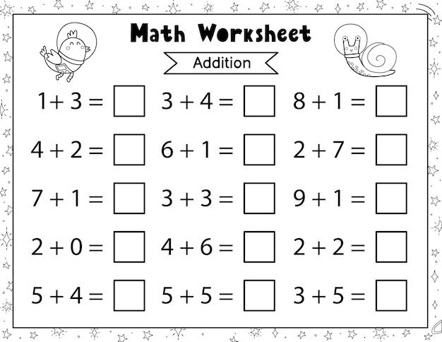 Folha de trabalho matemática para crianças adição e subtração espaço página de atividades matemáticas em preto e branco