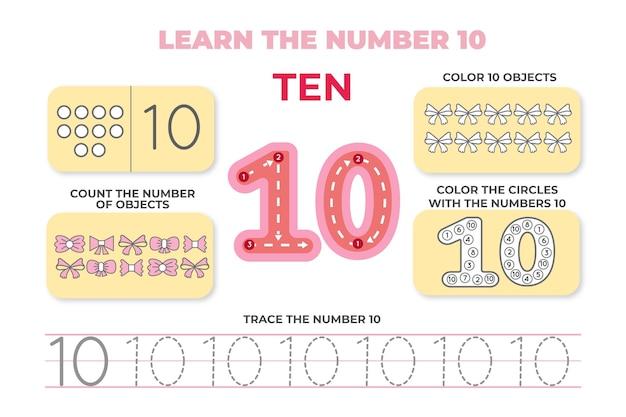 Folha de trabalho número dez em pastel criativo