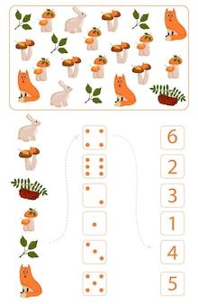 Folha de trabalho para o ensino de matemática e numeramento sobre o tema do outono. para crianças em idade pré-escolar e crianças do jardim de infância que estudam números e contagem. ilustração vetorial