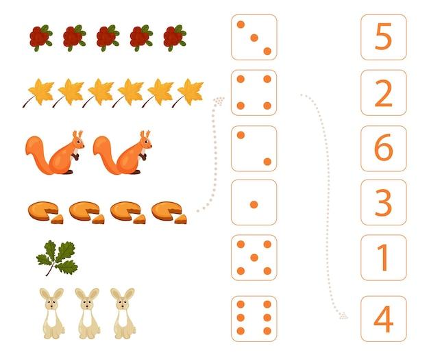 Folha de trabalho para o ensino de matemática e numeramento sobre o tema do outono. para crianças em idade pré-escolar e crianças do jardim de infância que estudam números e contagem.