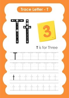 Folha de trabalho prática de escrita e desenho com três linhas de traço para crianças