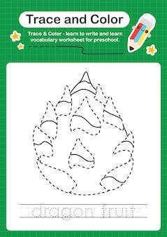 Folha de trabalho pré-escolar em cores e rastreamento de fruta de dragão para crianças praticarem a escrita e o desenho