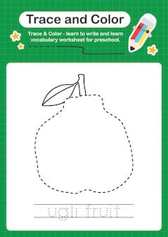 Folha de trabalho pré-escolar em cores e rastreamento de frutas ugli para crianças praticarem a escrita e o desenho