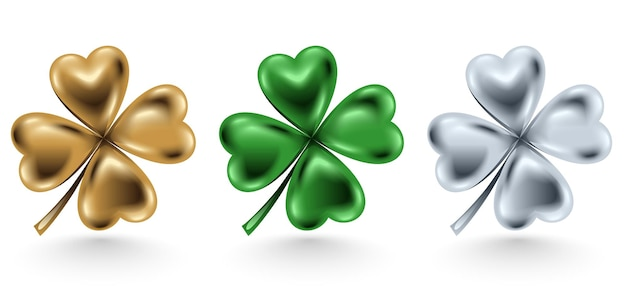 Folha de trevo dourado, verde e prata isolada no fundo branco, ilustração para o dia de são patrício. joias de quatro folhas