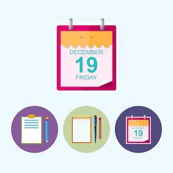 Folha de um calendário. conjunto de 3 ícones coloridos redondos, área de transferência com um lápis, caderno com a caneta e um lápis, folha de calendário de ícone, ícone de dados, ilustração vetorial