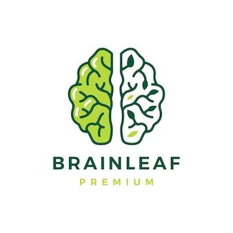 Folha do cérebro pense modelo de logotipo de árvore natural inteligente