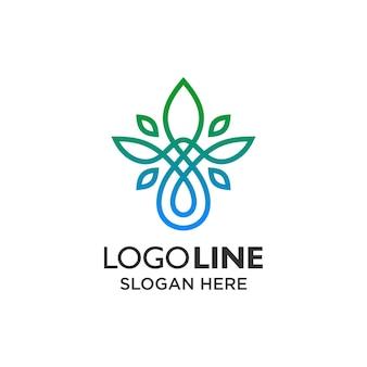 Folha e água de luxo com design de logotipo de arte de linha