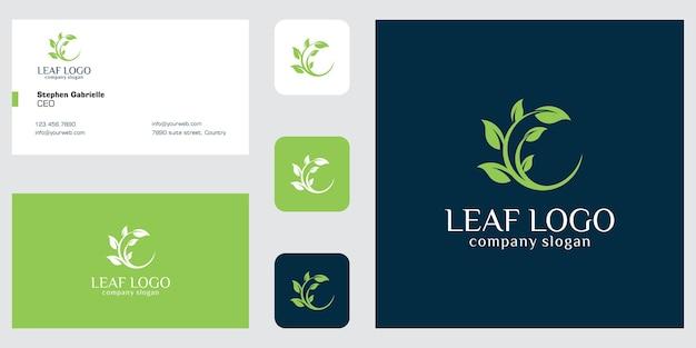 Folha e árvore do logotipo e cartão de visita