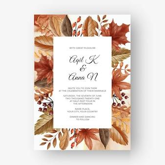 Folha e frutas cartão de convite de casamento outono outono